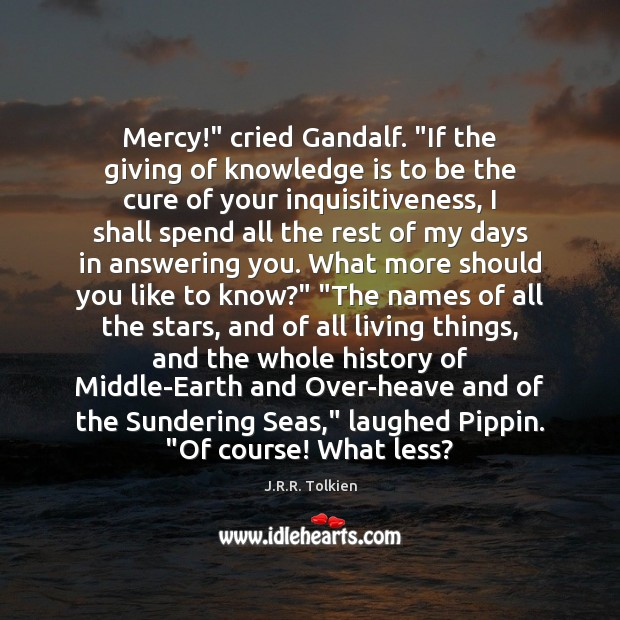 """Mercy!"""" cried Gandalf. """"If the giving of knowledge is to be the Image"""