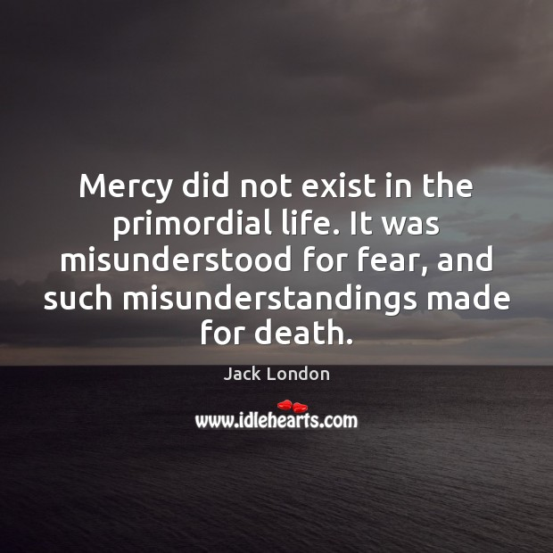 Mercy did not exist in the primordial life. It was misunderstood for Jack London Picture Quote
