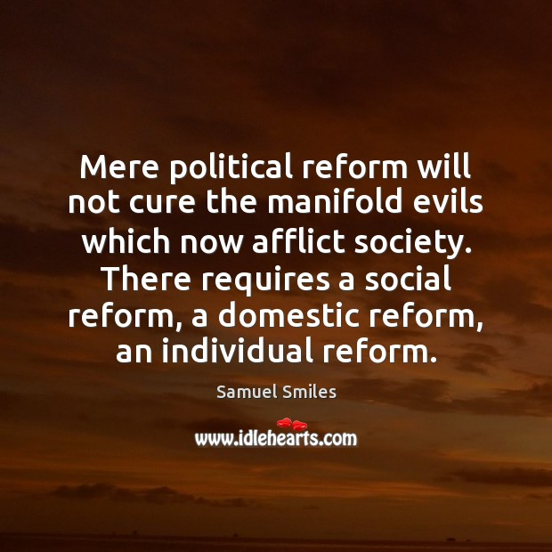 Mere political reform will not cure the manifold evils which now afflict Samuel Smiles Picture Quote