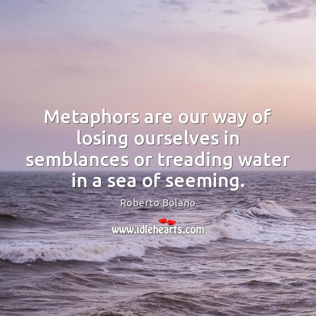 Metaphors are our way of losing ourselves in semblances or treading water Image