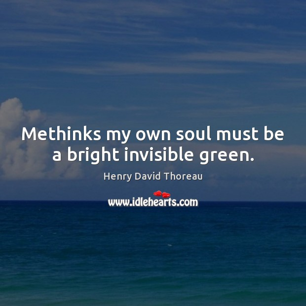 Methinks my own soul must be a bright invisible green. Image