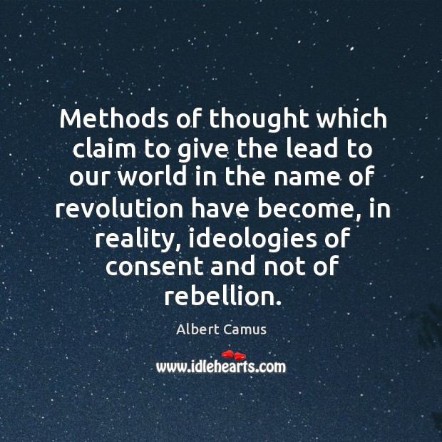 Methods of thought which claim to give the lead to our world in the name of revolution Image