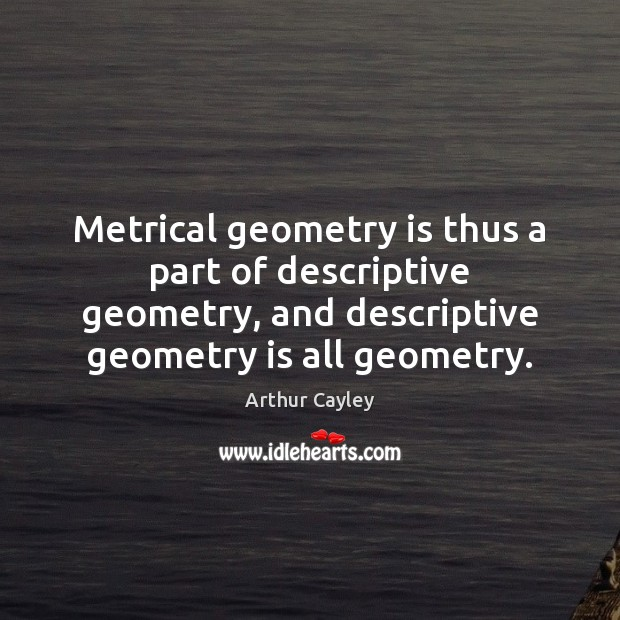 Image, Metrical geometry is thus a part of descriptive geometry, and descriptive geometry
