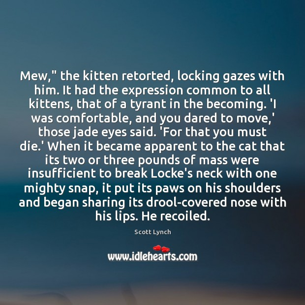 """Mew,"""" the kitten retorted, locking gazes with him. It had the expression Scott Lynch Picture Quote"""