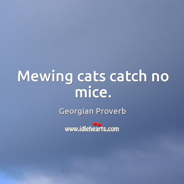 Mewing cats catch no mice. Georgian Proverbs Image