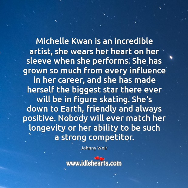 Michelle Kwan is an incredible artist, she wears her heart on her Image