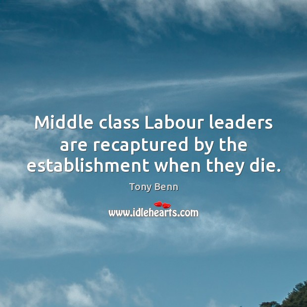 Middle class Labour leaders are recaptured by the establishment when they die. Tony Benn Picture Quote
