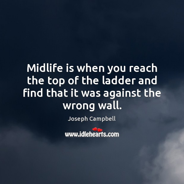 Midlife is when you reach the top of the ladder and find Image
