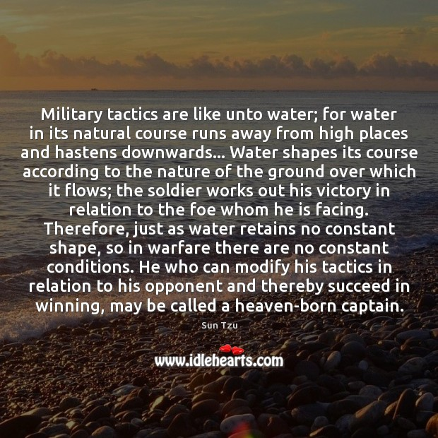 Military tactics are like unto water; for water in its natural course Image