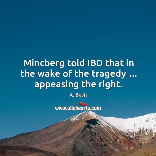 Image, Mincberg told ibd that in the wake of the tragedy … appeasing the right.