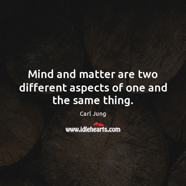 Mind and matter are two different aspects of one and the same thing. Carl Jung Picture Quote
