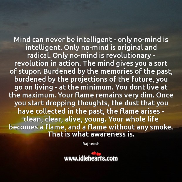 Mind can never be intelligent – only no-mind is intelligent. Only no-mind Image