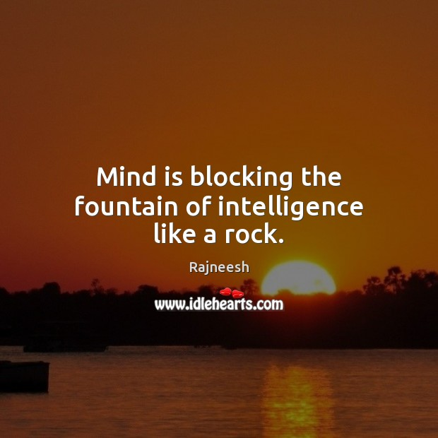 Image, Mind is blocking the fountain of intelligence like a rock.