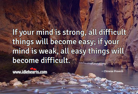 If your mind is strong, all difficult things will become easy. Chinese Proverbs Image