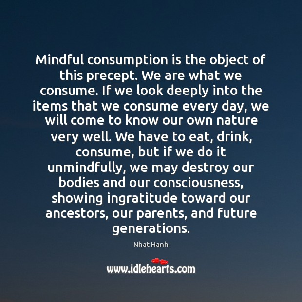 Image, Mindful consumption is the object of this precept. We are what we
