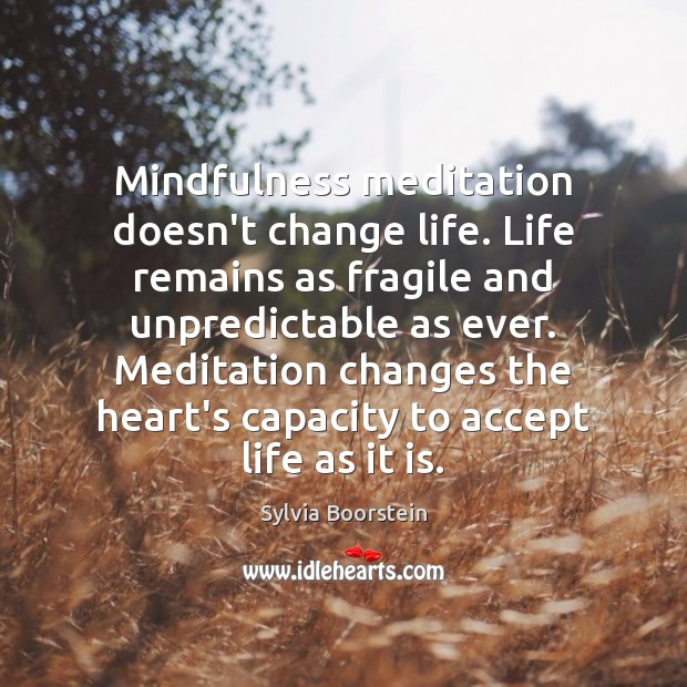 Image, Mindfulness meditation doesn't change life. Life remains as fragile and unpredictable as
