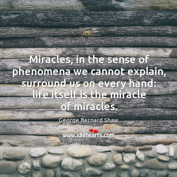 Miracles, in the sense of phenomena we cannot explain, surround us on every hand: life itself is the miracle of miracles. Image