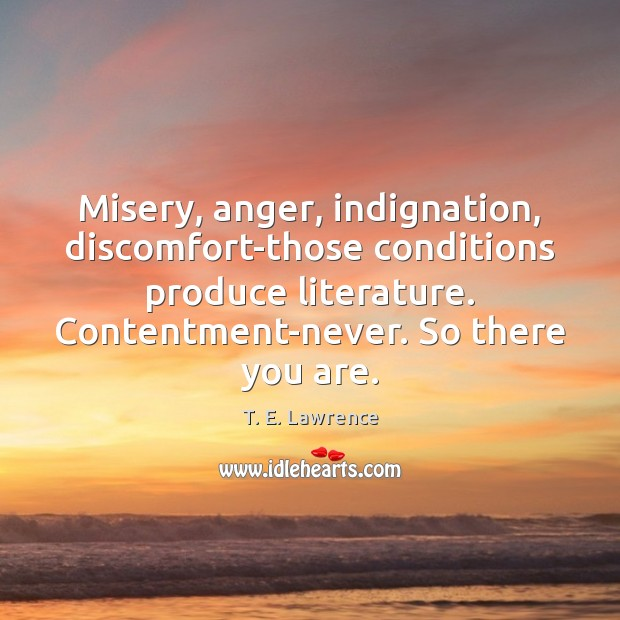 Image, Misery, anger, indignation, discomfort-those conditions produce literature. Contentment-never. So there you are.
