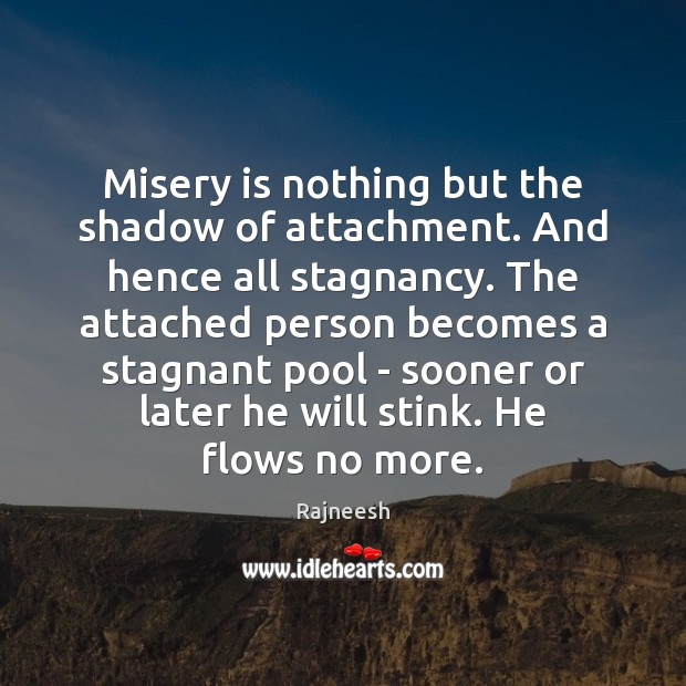 Misery is nothing but the shadow of attachment. And hence all stagnancy. Image
