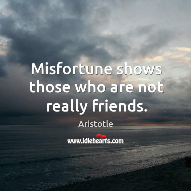 Image, Misfortune shows those who are not really friends.