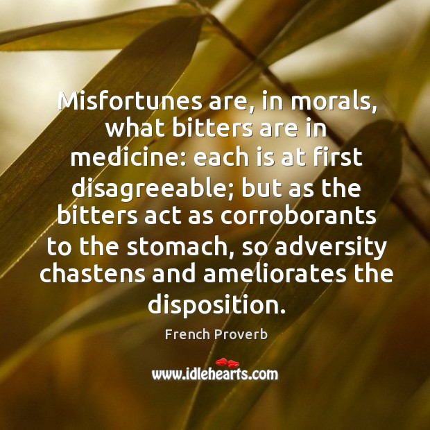 Misfortunes are, in morals, what bitters are in medicine: Image