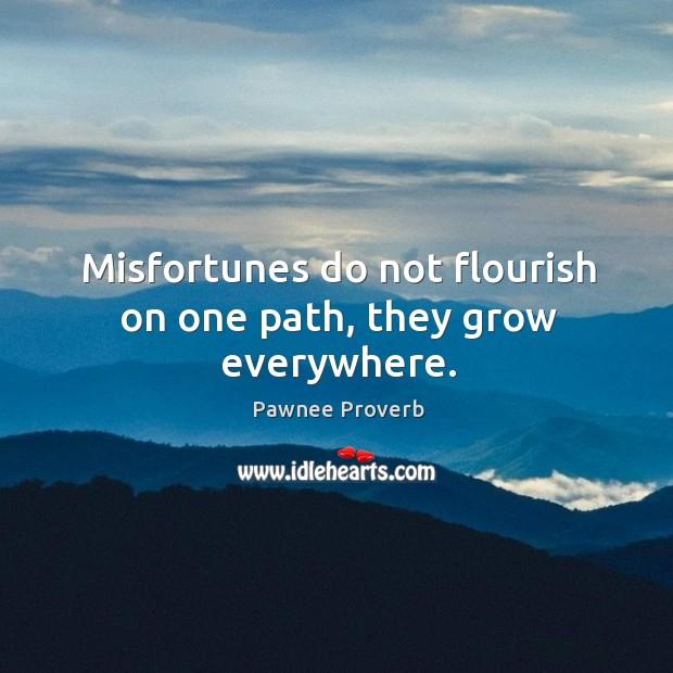 Misfortunes do not flourish on one path, they grow everywhere. Pawnee Proverbs Image