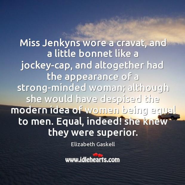 Image, Miss Jenkyns wore a cravat, and a little bonnet like a jockey-cap,