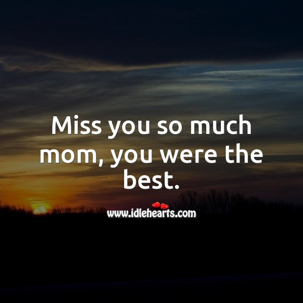 Miss you so much mom, you were the best. Miss You So Much Quotes Image