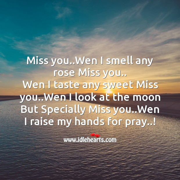 Miss you..wen I smell any rose miss you.. Missing You Messages Image