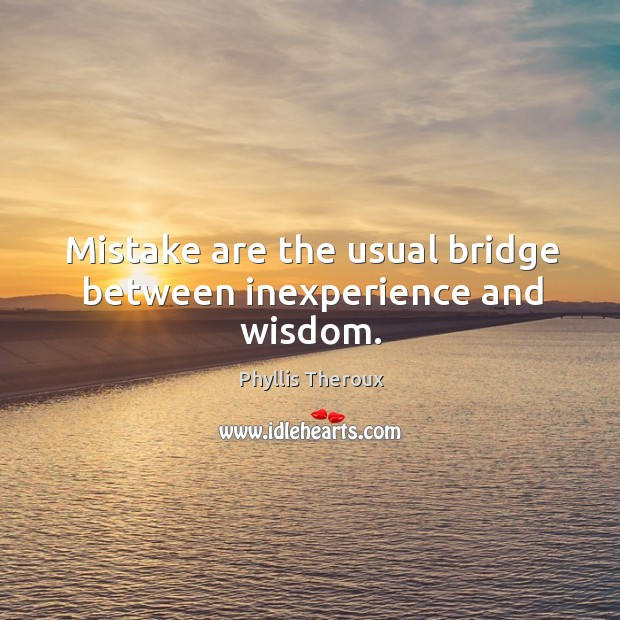 Mistake are the usual bridge between inexperience and wisdom. Image