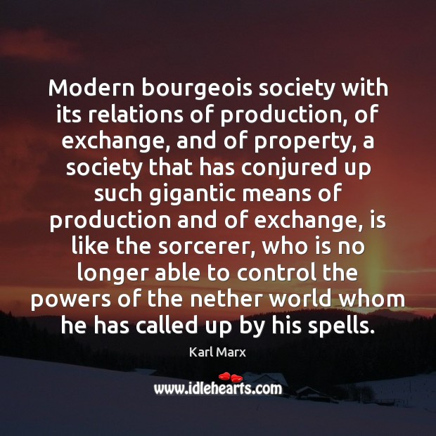 Image, Modern bourgeois society with its relations of production, of exchange, and of
