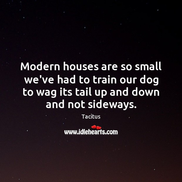 Modern houses are so small we've had to train our dog to Tacitus Picture Quote