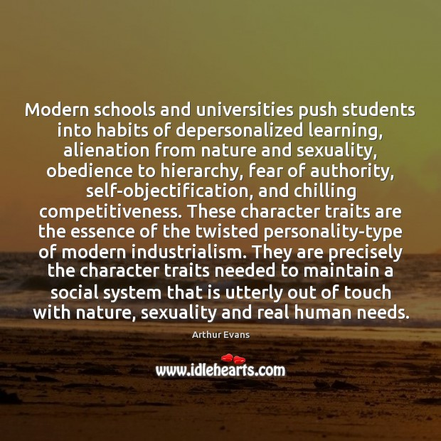 Image, Modern schools and universities push students into habits of depersonalized learning, alienation
