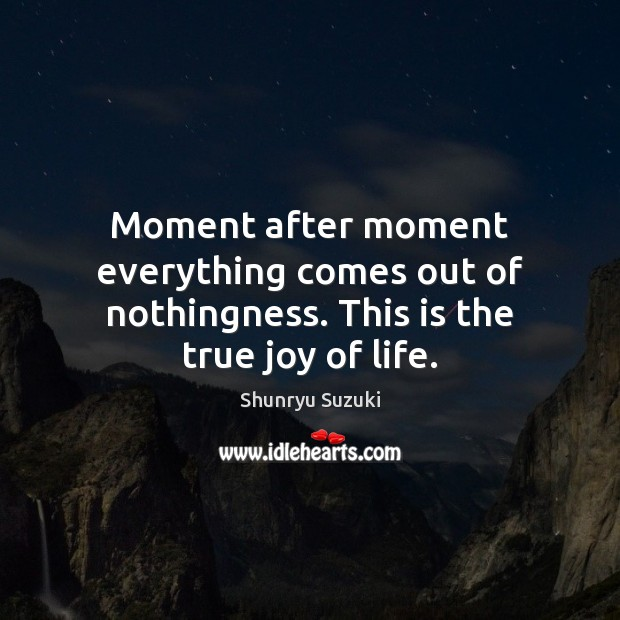 Moment after moment everything comes out of nothingness. This is the true joy of life. True Joy Quotes Image