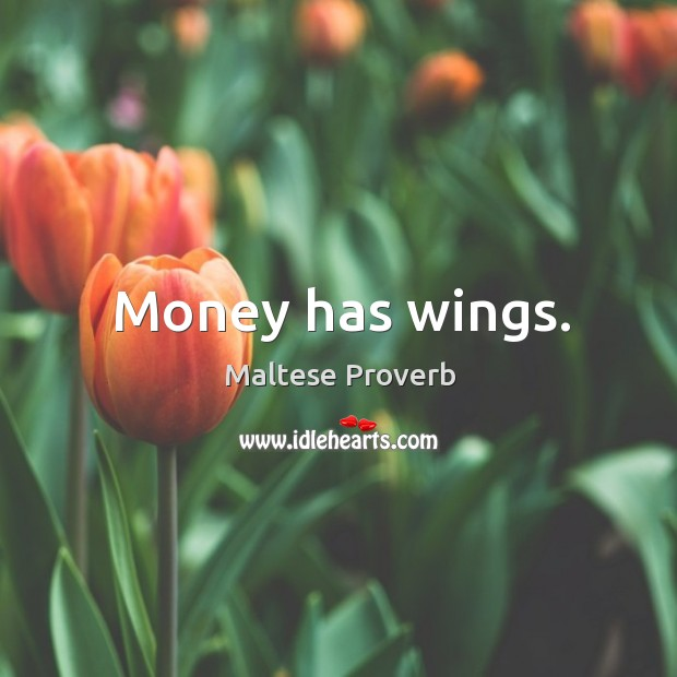 Money has wings. Maltese Proverbs Image