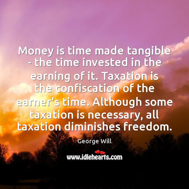 Money is time made tangible – the time invested in the earning Money Quotes Image