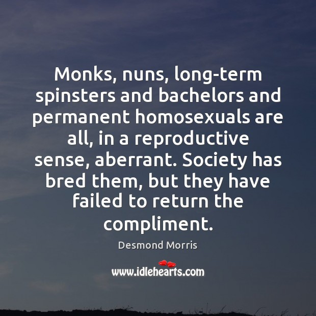 Monks, nuns, long-term spinsters and bachelors and permanent homosexuals are all, in Image