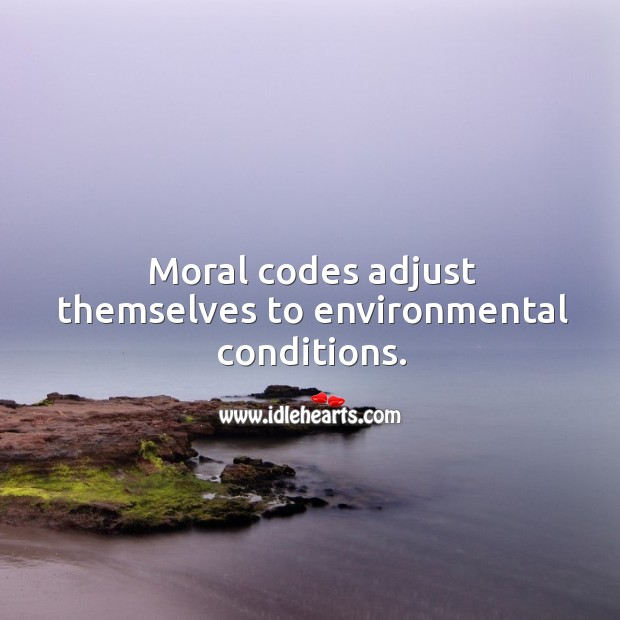 Moral codes adjust themselves to environmental conditions. Image