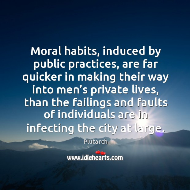 Image, Moral habits, induced by public practices, are far quicker in making their way into men's private lives