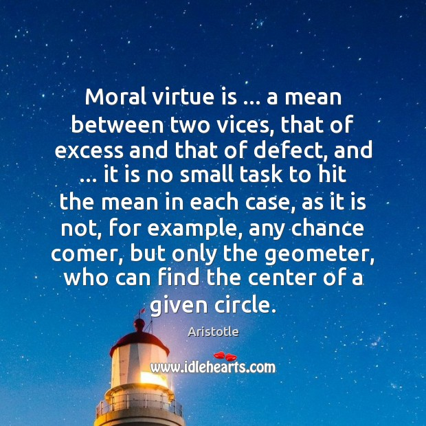 Moral virtue is … a mean between two vices, that of excess and Image
