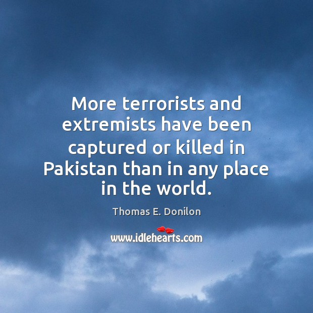 More terrorists and extremists have been captured or killed in Pakistan than Thomas E. Donilon Picture Quote