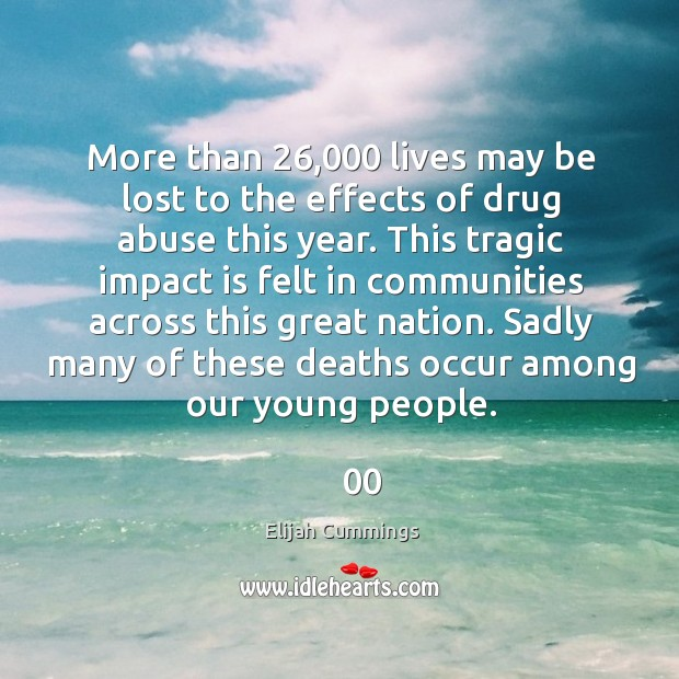 More than 26,000 lives may be lost to the effects of drug abuse this year. Image