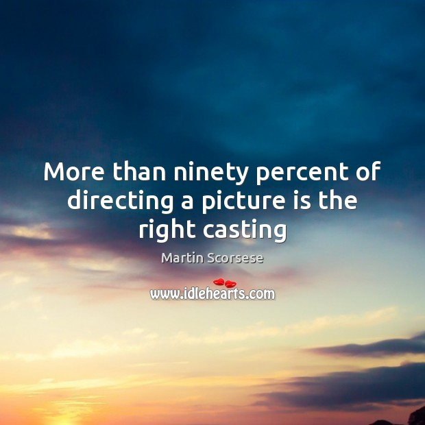 Image, More than ninety percent of directing a picture is the right casting