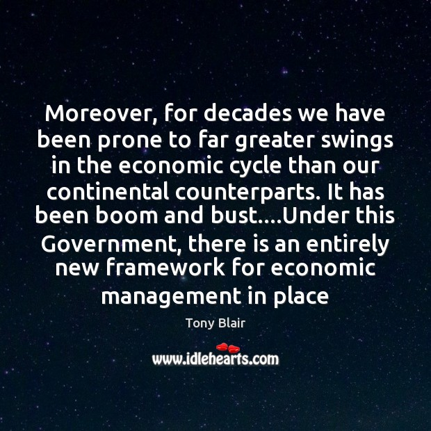 Moreover, for decades we have been prone to far greater swings in Tony Blair Picture Quote