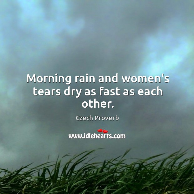 Morning rain and women's tears dry as fast as each other. Czech Proverbs Image