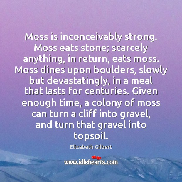 Moss is inconceivably strong. Moss eats stone; scarcely anything, in return, eats Elizabeth Gilbert Picture Quote