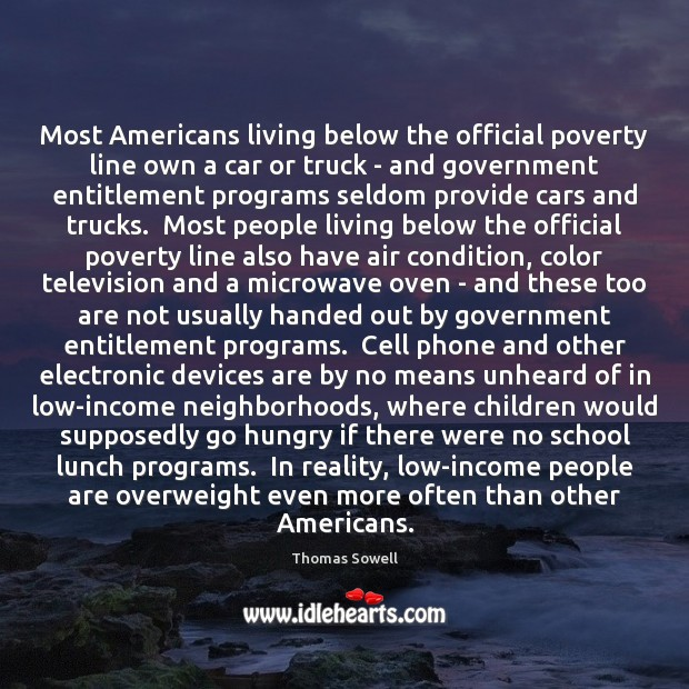 Image, Most Americans living below the official poverty line own a car or