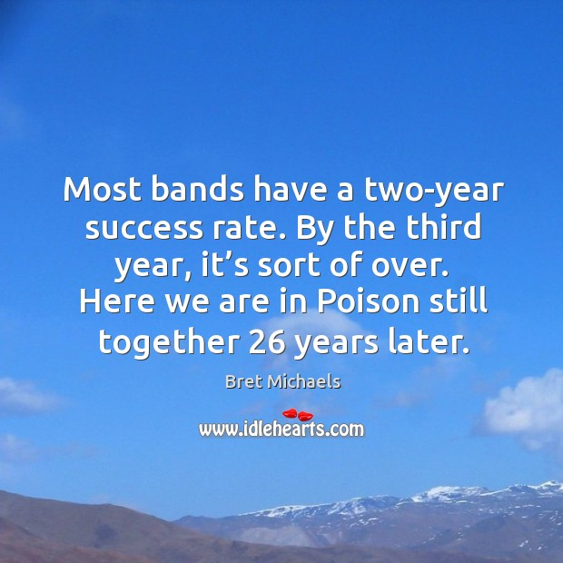 Most bands have a two-year success rate. By the third year, it's sort of over. Image