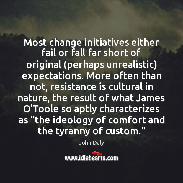 Most change initiatives either fail or fall far short of original (perhaps Image