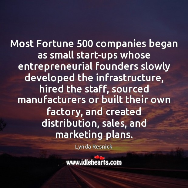Most Fortune 500 companies began as small start-ups whose entrepreneurial founders slowly developed Image